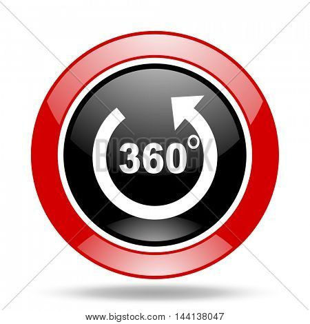 panorama round glossy red and black web icon