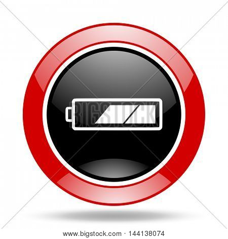 battery round glossy red and black web icon