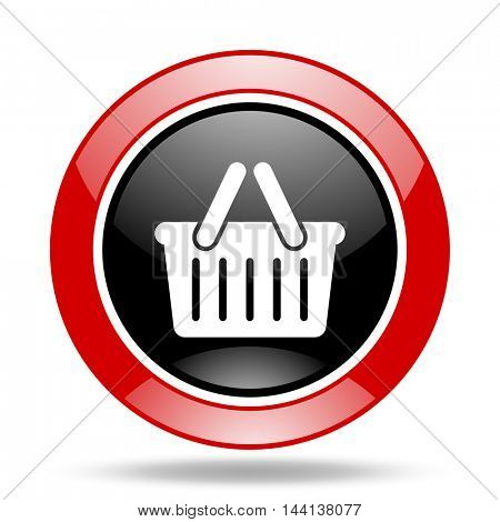 cart round glossy red and black web icon