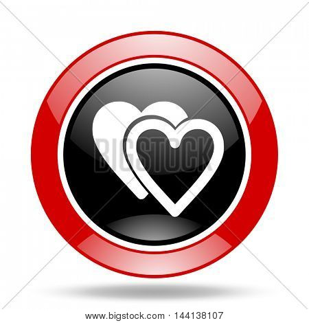 love round glossy red and black web icon