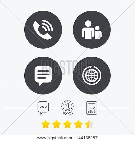 Group of people and share icons. Speech bubble and round the world arrow symbols. Communication signs. Chat, award medal and report linear icons. Star vote ranking. Vector