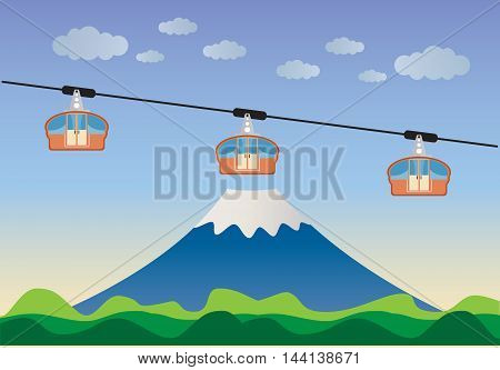 Transportation cable car with big mountain background Vector Illustration
