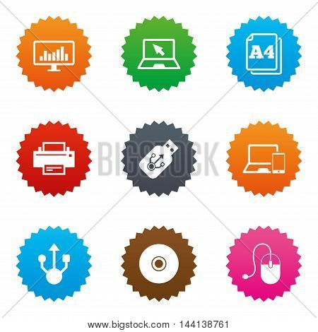 Computer devices icons. Printer, laptop signs. Smartphone, monitor and usb symbols. Stars label button with flat icons. Vector