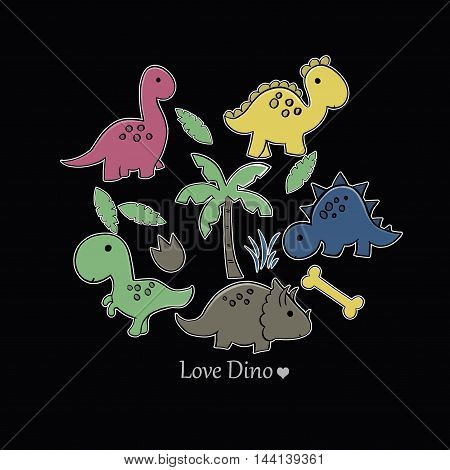Adorable seamless card with funny dinosaurs in cartoon.