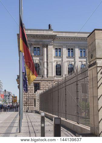 BERLIN GERMANY - AUGUST 25 2016: German Flag And EU Flag In Front Of The German Bundesrat In Berlin Germany