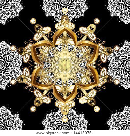 Seamless vintage pattern on black background with white and golden floral elements.