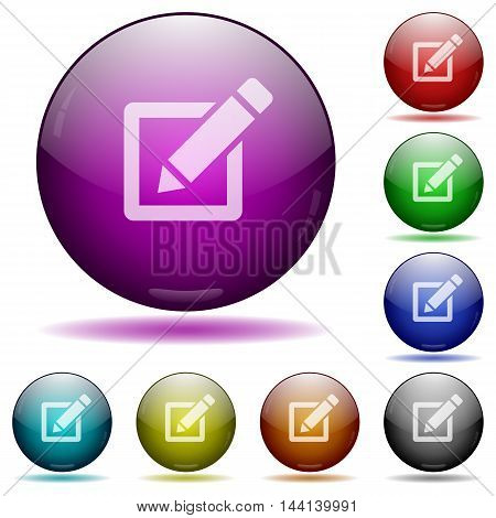 Set of color editor glass sphere buttons with shadows.
