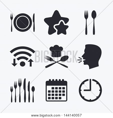 Plate dish with forks and knifes icons. Chief hat sign. Crosswise cutlery symbol. Dessert fork. Wifi internet, favorite stars, calendar and clock. Talking head. Vector