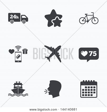 Cargo truck and shipping icons. Shipping and eco bicycle delivery signs. Transport symbols. 24h service. Flat talking head, calendar icons. Stars, like counter icons. Vector
