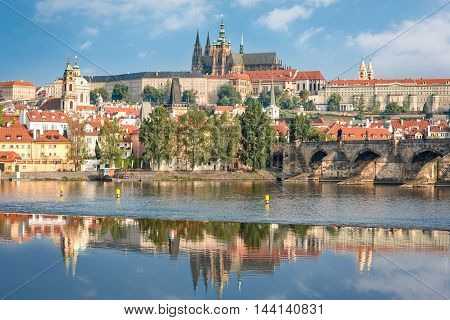 View over river Vltava and Charles bridge to Prague castle