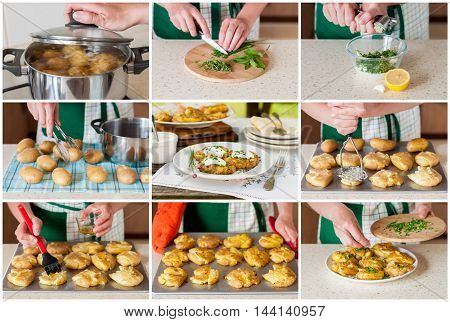 A Step by Step Collage of Making Australian Crash Hot Potatoes with Chives and Sour Cream and Herb Sauce