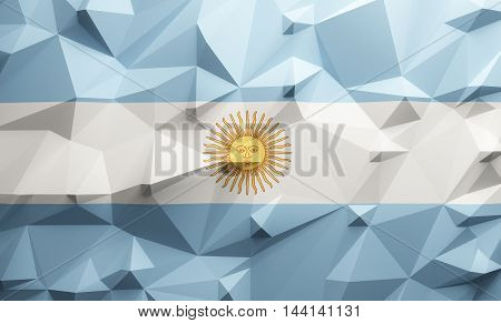 Low poly illustrated Argentine flag. 3d rendering.