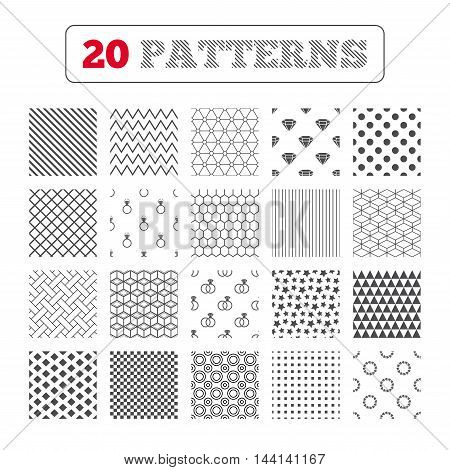 Ornament patterns, diagonal stripes and stars. Rings icons. Jewelry with shine diamond signs. Wedding or engagement symbols. Geometric textures. Vector