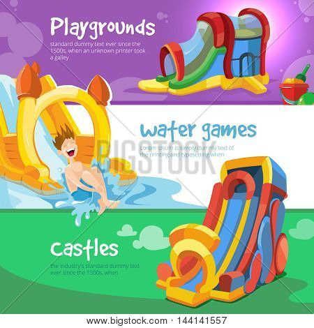Vector Set of three web banners with picture of inflatable castles and children hills on playground.