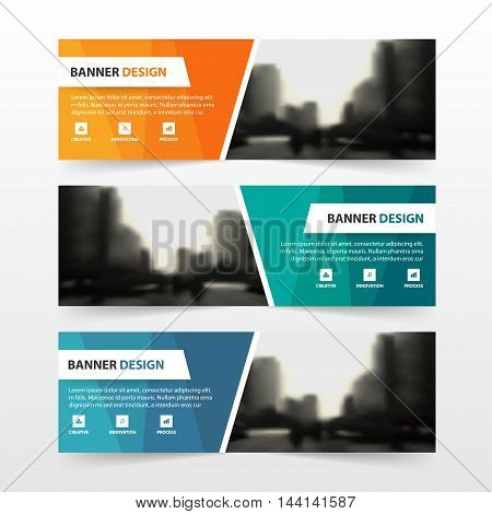 Orange green blue polygon corporate business banner template horizontal advertising business banner layout template flat design set clean abstract cover header background for website design