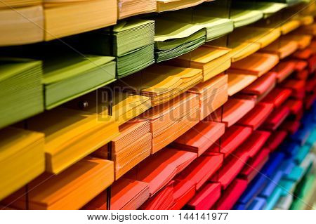 Colored Paper And Envelops In Shop Showcase