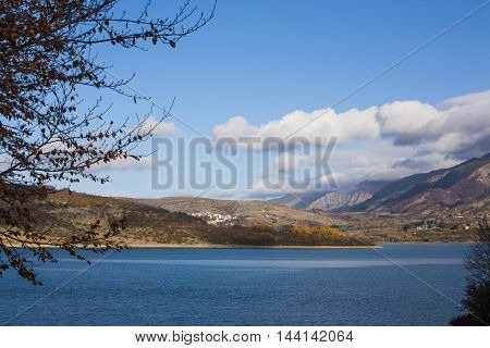 Lake of Campotosto in the park of Gran Sasso and Monti della Laga
