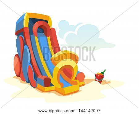Vector illustration of big inflatable slides on playground. Picture isolate on white background