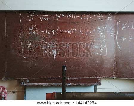 Classroom Brown Chalkboard Formula Painted.