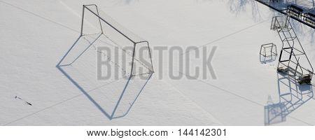 Winter In Snow School Playground.