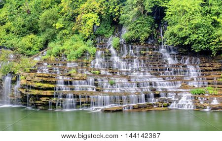 a beautiful picture with a waterfall. with plenty of pure water. beauty of the place is wonderful.