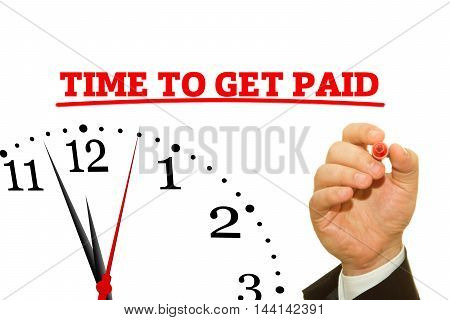 Businessman hand writing TIME TO GET PAID message on a transparent wipe board.