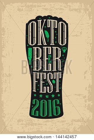 Typography poster. Beer glass on brown old paper background. lettering text in silhouette mug. Vintage vector engraving illustration. Advertising design for pub oktoberfest festival