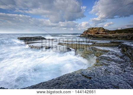 beautiful sea and rocks with long exposure
