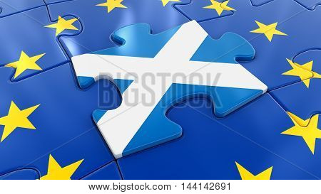 3D Illustration. Scotland Jigsaw as part of EU