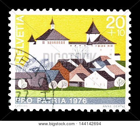 SWITZERLAND - CIRCA 1976 : Cancelled postage stamp printed by Switzerland, that shows Kyburg castle.