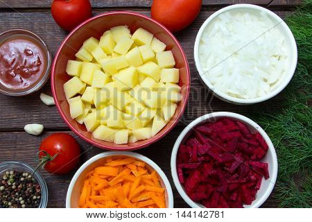Ingredients For Borscht, Beetroot Soup, Beet Soup: Carrots, Onions, Garlic, Beets, Tomatoes, Potatoe
