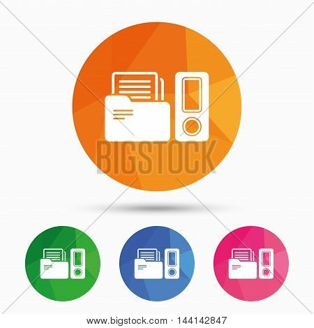 Document folder sign. Accounting binder symbol. Bookkeeping management. Triangular low poly button with flat icon. Vector
