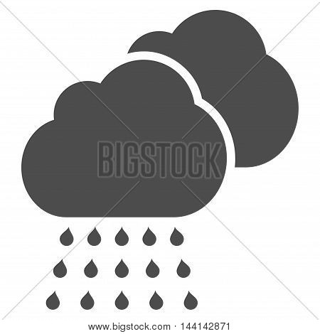 Rain Clouds icon. Vector style is flat iconic symbol, gray color, white background.