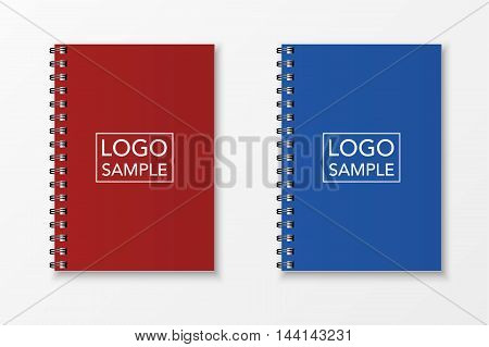 Blank realistic spiral notebooks isolated on white background. Vector EPS10 illustration.