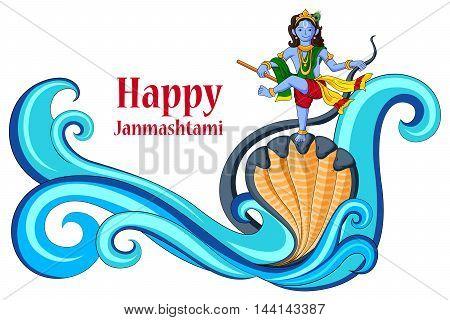 vector illustration of Krishna dancing on Kaliya naag snake on Happy Janmashtami background