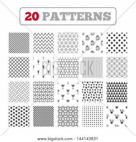 Ornament patterns, diagonal stripes and stars. Alcoholic drinks icons. Champagne sparkling wine and beer symbols. Wine glass and cocktail signs. Geometric textures. Vector