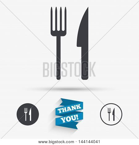 Eat sign icon. Cutlery symbol. Fork and knife. Flat icons. Buttons with icons. Thank you ribbon. Vector