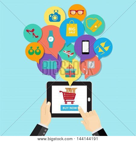 Online shopping e-commerce concept. business button order item store online on smartphone and tablet. Can used for infographic,web, advertising.illustration business cartoon concept.