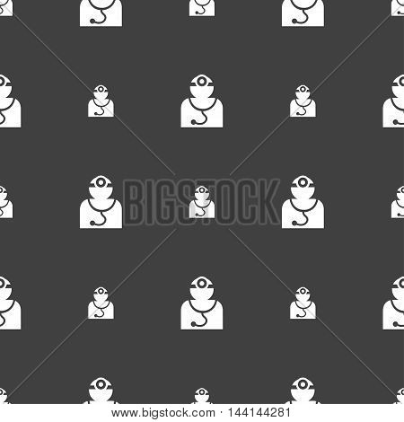 Doctor With Stethoscope Around His Neck Sign. Seamless Pattern On A Gray Background. Vector