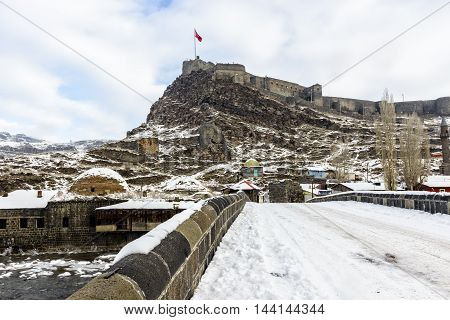 Kars city castle at winter under the snow in Turkey