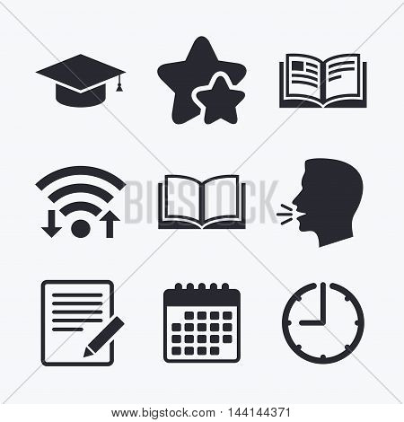 Pencil with document and open book icons. Graduation cap symbol. Higher education learn signs. Wifi internet, favorite stars, calendar and clock. Talking head. Vector