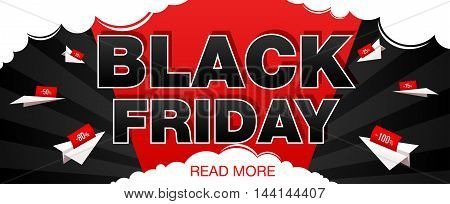 Black Friday sale banner with paper airplane. Black Friday web banner. Vector illustration
