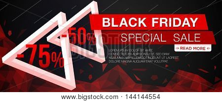 Black Friday sale banner with triangles. Black Friday web banner. Vector illustration