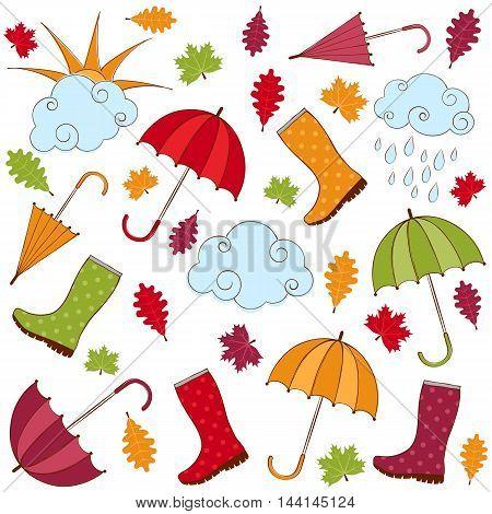Vector doodle hand drawn rainy autumn set