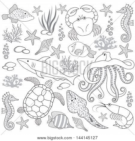 Vector black and white sea life set