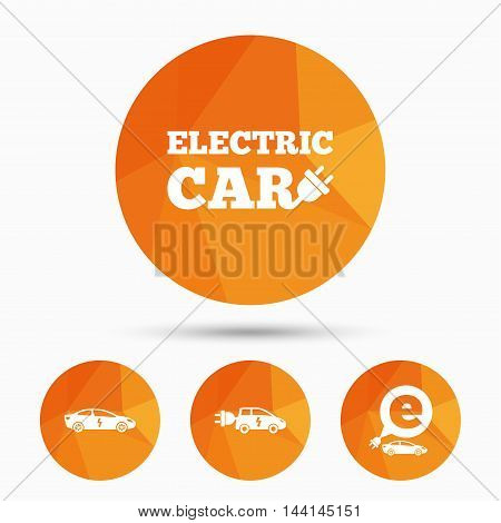 Electric car icons. Sedan and Hatchback transport symbols. Eco fuel vehicles signs. Triangular low poly buttons with shadow. Vector