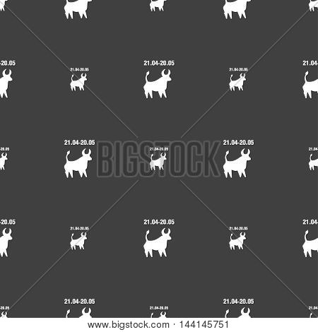 Taurus Sign. Seamless Pattern On A Gray Background. Vector