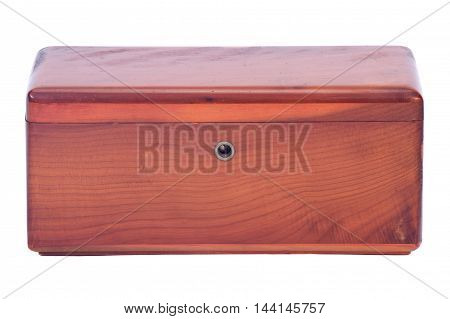 Wooden vintage treasure box separated on white background