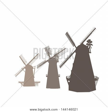 Vector Silhouettes Of Old Classic Mills Isolated On White