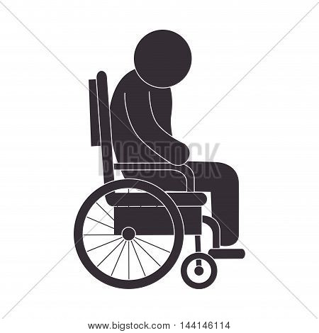 handicapped wheelchair paraplegic invalid man human assistance vector illustration